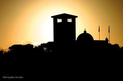 Coucher de soleil sur la prison de Robben Island
